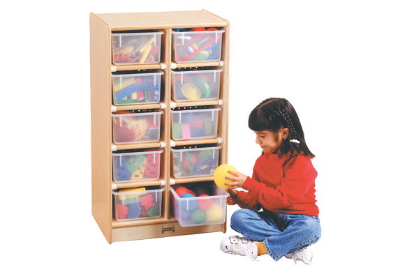 10-Cubbie Mobile Storage - With Clear Trays