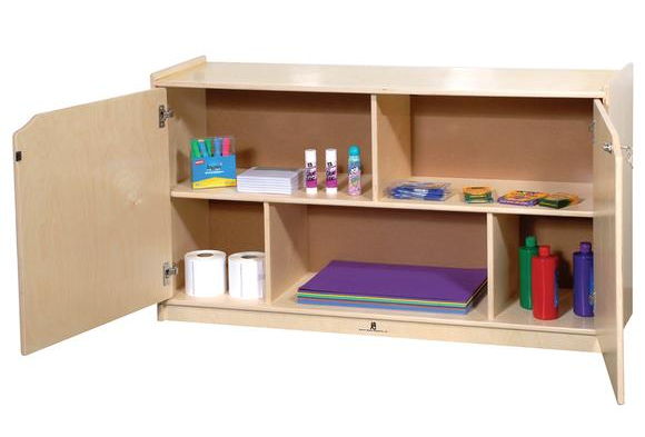 Locking Shelf Birch Storage with Doors - 36