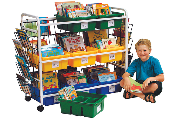 Deluxe Book Browser Cart with Tubs & Display Racks