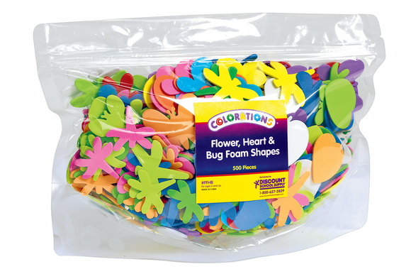 Colorations® Flowers, Hearts & Bug Foam Shapes - 500 Pieces