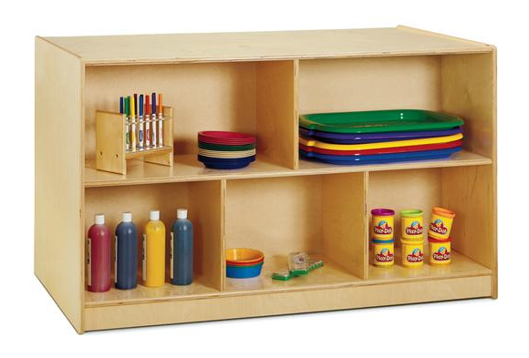 Jonti-Craft® Double-Sided Island - Single + 20 Cubbies with Clear Trays