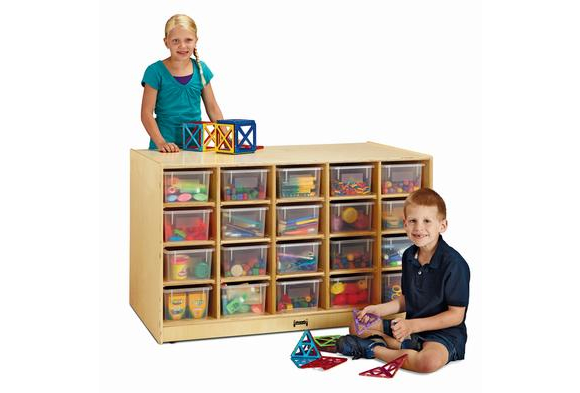 Jonti-Craft® Double-Sided Island - 40 Cubbies with Clear Trays