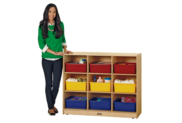 Mobile Diaper Storage Unit with Colored Tubs