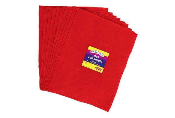 Red Colorations® Single Color Felt Sheets 10 Pieces