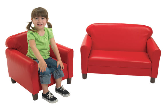 Vinyl Preschool Sofa Red