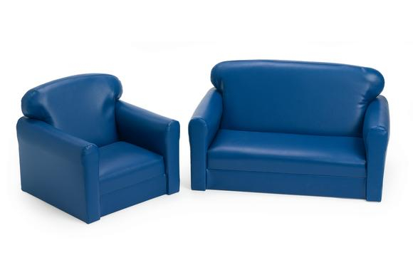 Vinyl Toddler Sofa & Chair Set - Blue