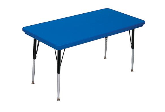 Lightweight Activity Table 30 x 60 Rectangle, High Leg - Blue