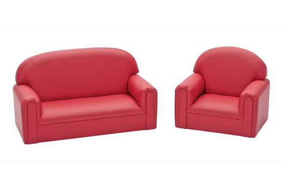 Preschool Sofa and Chair Set - Red