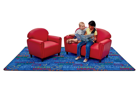 School Age Sofa and Chair Set - Red