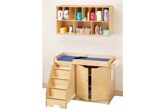 Toddler Birch Changing Table with Stairs & Overhead Combo Unit