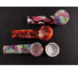 Pipa de silicona con diseño, quemador de vidrio