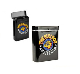 Cajetilla metálica Bulldog negra logo