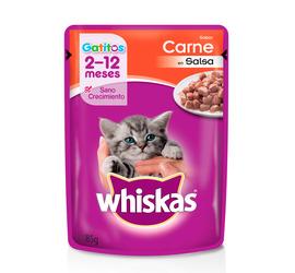 Sobre Whiskas Gatito Carne en Salsa 85 Grs