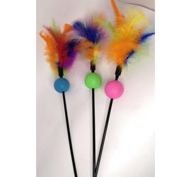 Varilla con plumas de colores y pelota (52cm)