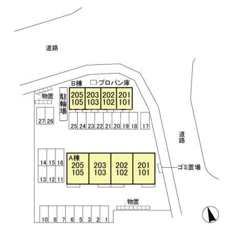 エール ド クラージュ B 102号室の地図