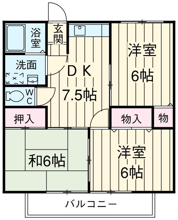 グランドソレイユⅡ 1-201号室の間取り