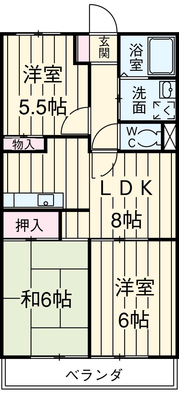 ミヤシタマンション 502号室の間取り