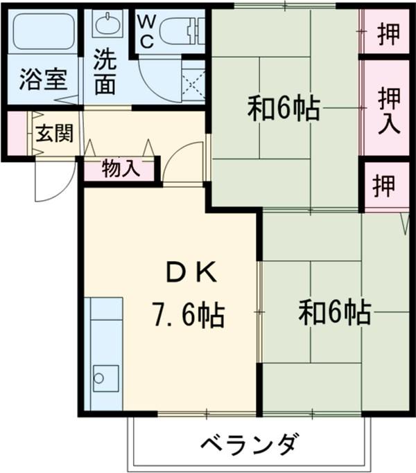 シーズ桜 A102号室の間取り