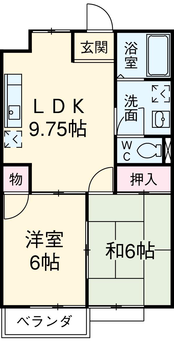 K'S HOUSE B棟 201号室の間取り
