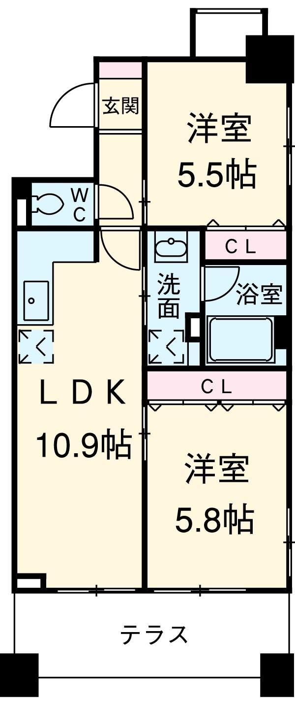 クリオ上野毛ラ・モード 105号室の間取り
