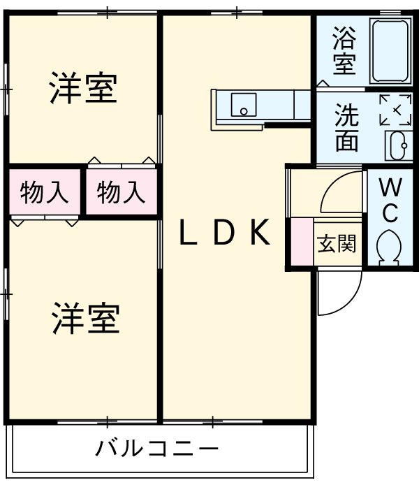 コスモハイムⅡ B 202号室の間取り