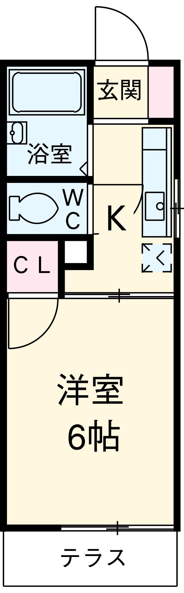 カレッジサイド寺田 203号室の間取り
