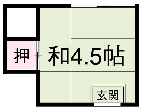 渡邊荘 6号室の間取り