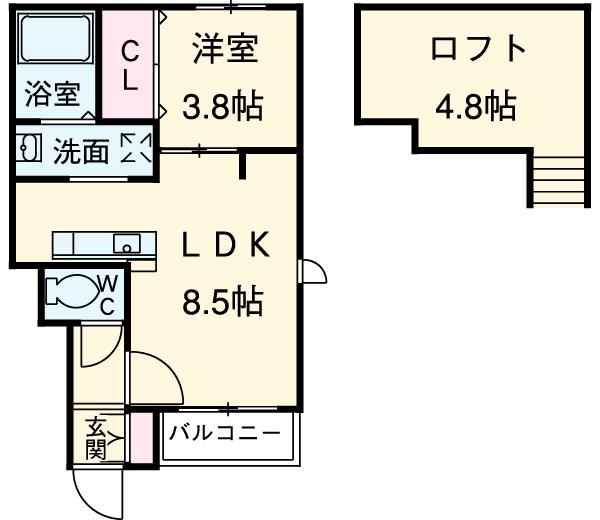 メゾン吉塚 101号室の間取り