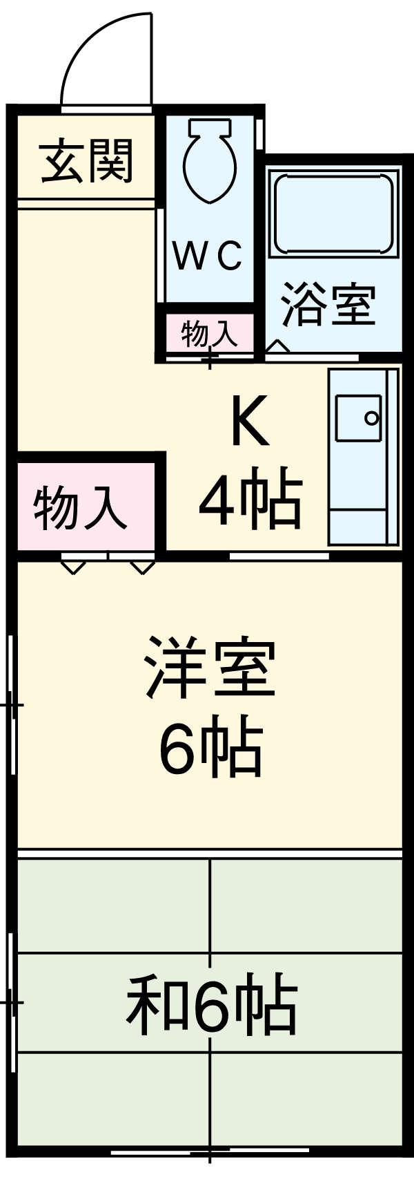 パークサイド黒川 102号室の間取り