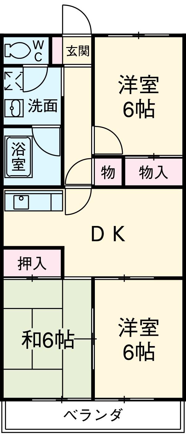 サンハイム和田 1-D号室の間取り