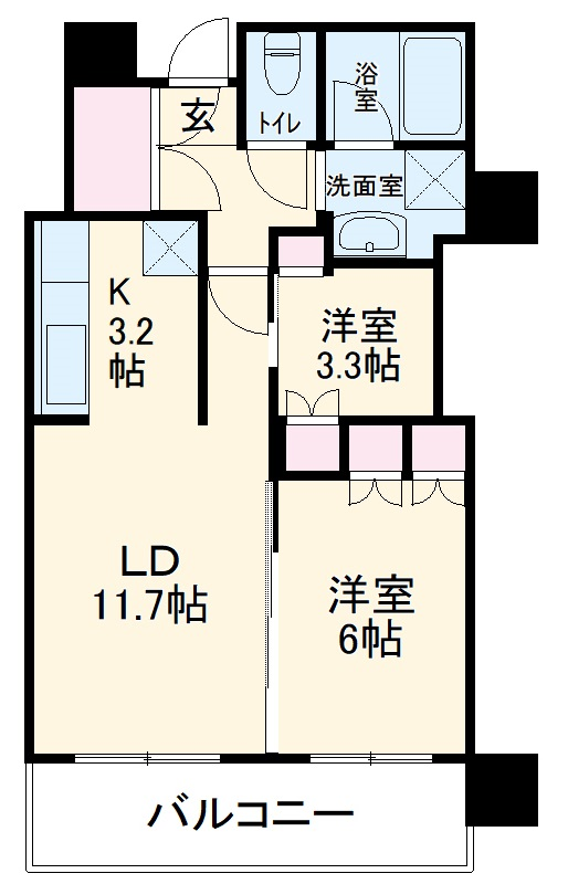 MJR赤坂タワー 708号室の間取り