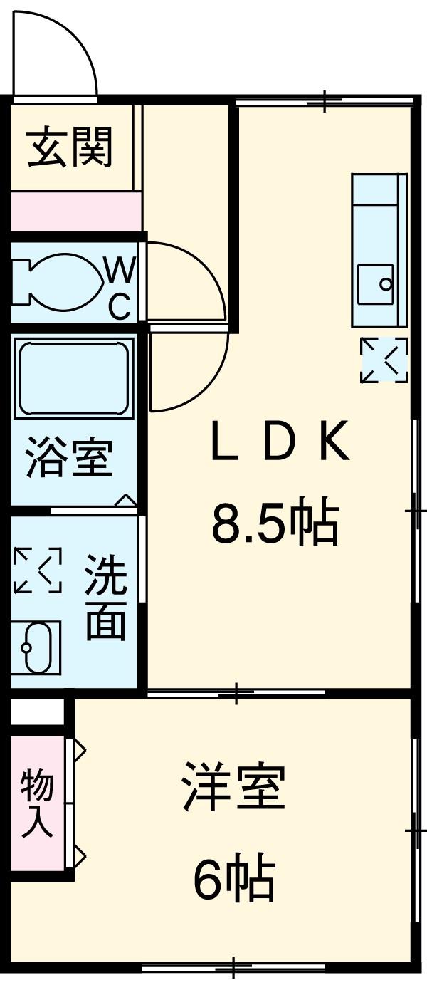 KC指扇 205号室の間取り