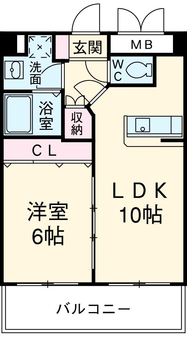 モンルポ博多駅東 401号室の間取り