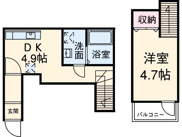アハイブ箱崎駅前 204号室の間取り