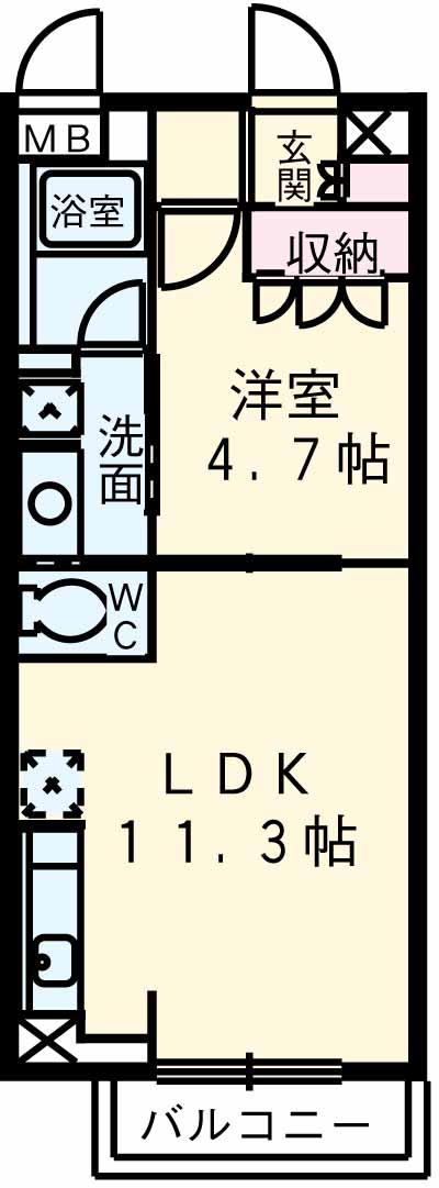アパートメンツ駒沢大学 206号室の間取り