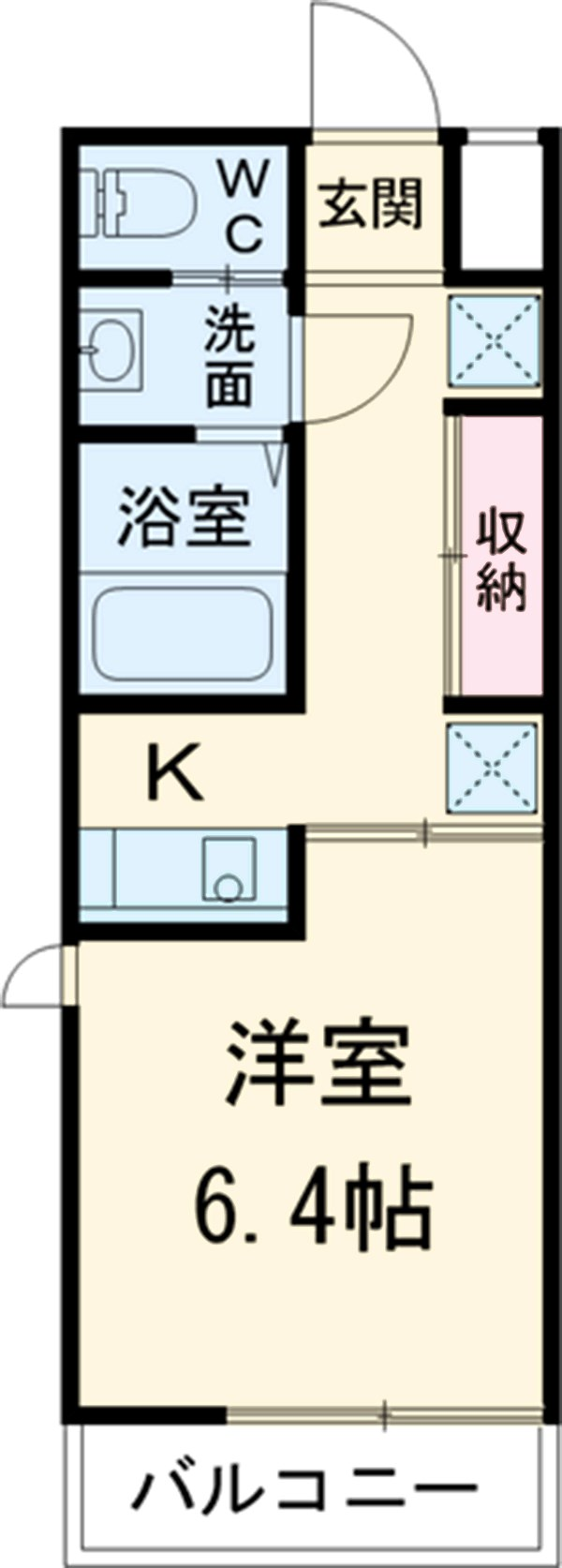 第12フォンタナ駒沢 206号室の間取り