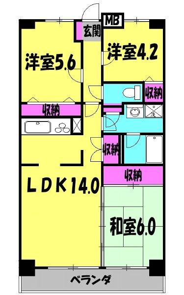 フィオーレ新宿 409号室の間取り