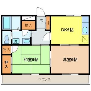 メルベーユ三芳野 203号室の間取り