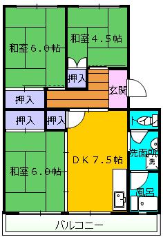 第1舘山寺コーポ 406号室の間取り