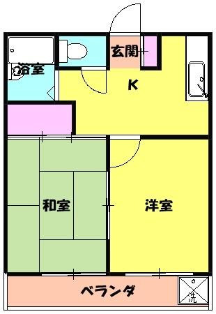 七鈴コーポ 205号室の間取り