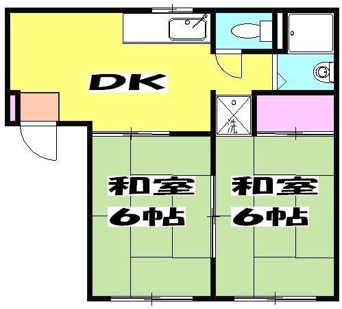 コスモハイツ佐知川 A201号室の間取り