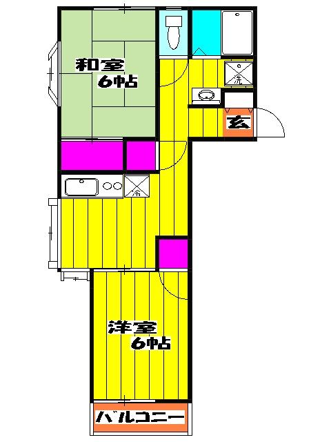 VILLA ITO No1・2 1-203号室の間取り