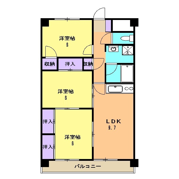 シャトーホソダA 203号室の間取り