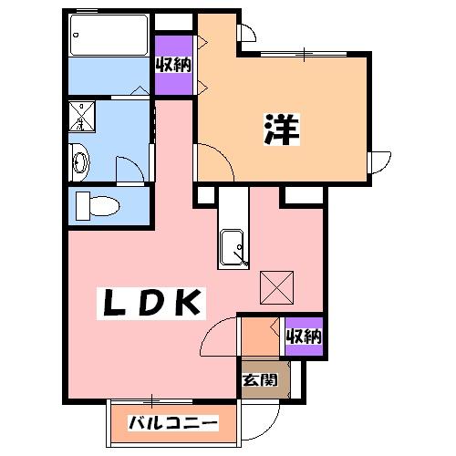 エターナル宝木 D棟 102号室の間取り