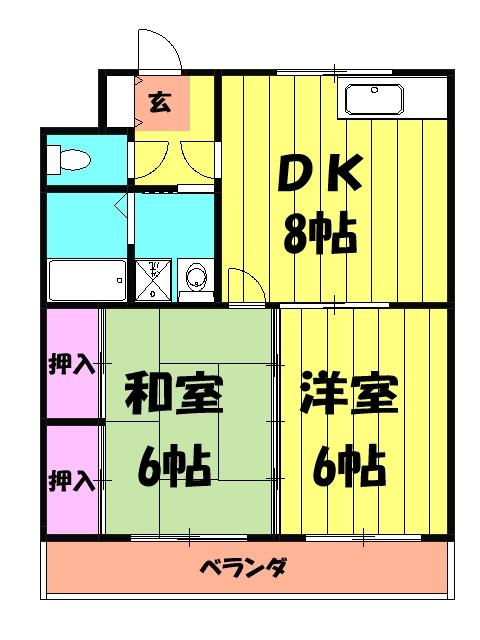 原第6マンション 203号室の間取り