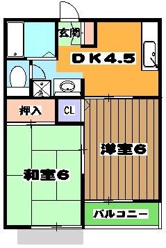 シャトーフローラルN-1 205号室の間取り