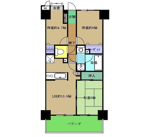 ライオンズマンション武蔵小杉東 303号室の間取り