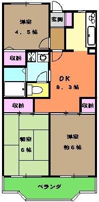 ソルジュ武蔵野A 305号室の間取り