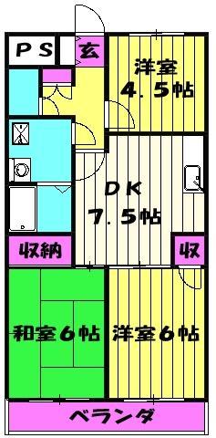 グリーンパークタニグチ 504号室の間取り