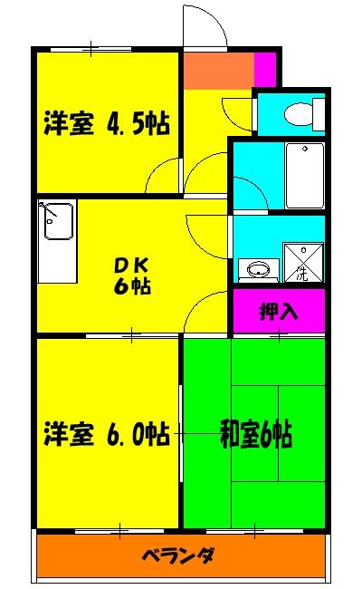 小野沢ハイム 302号室の間取り